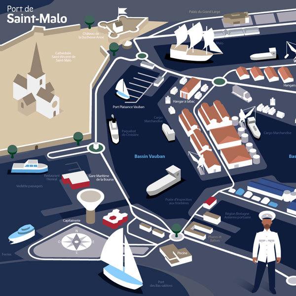 Le plan du port de Saint-Malo