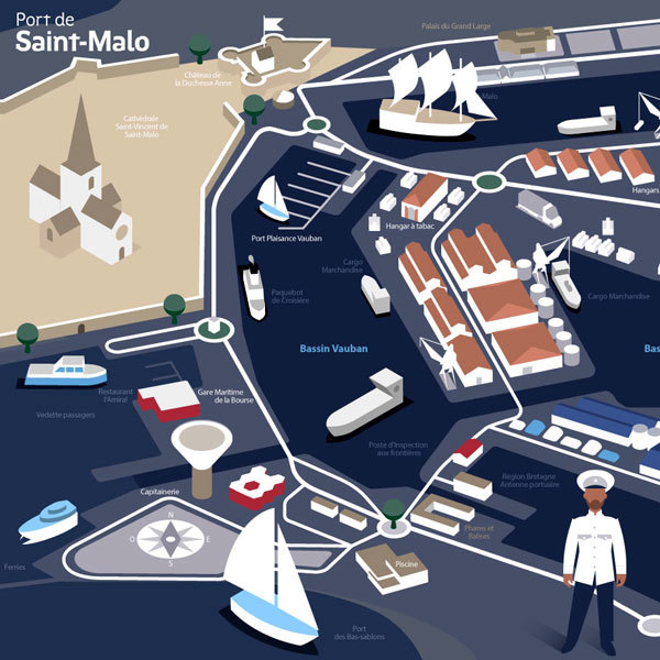 Le plan du port de Saint-Malo