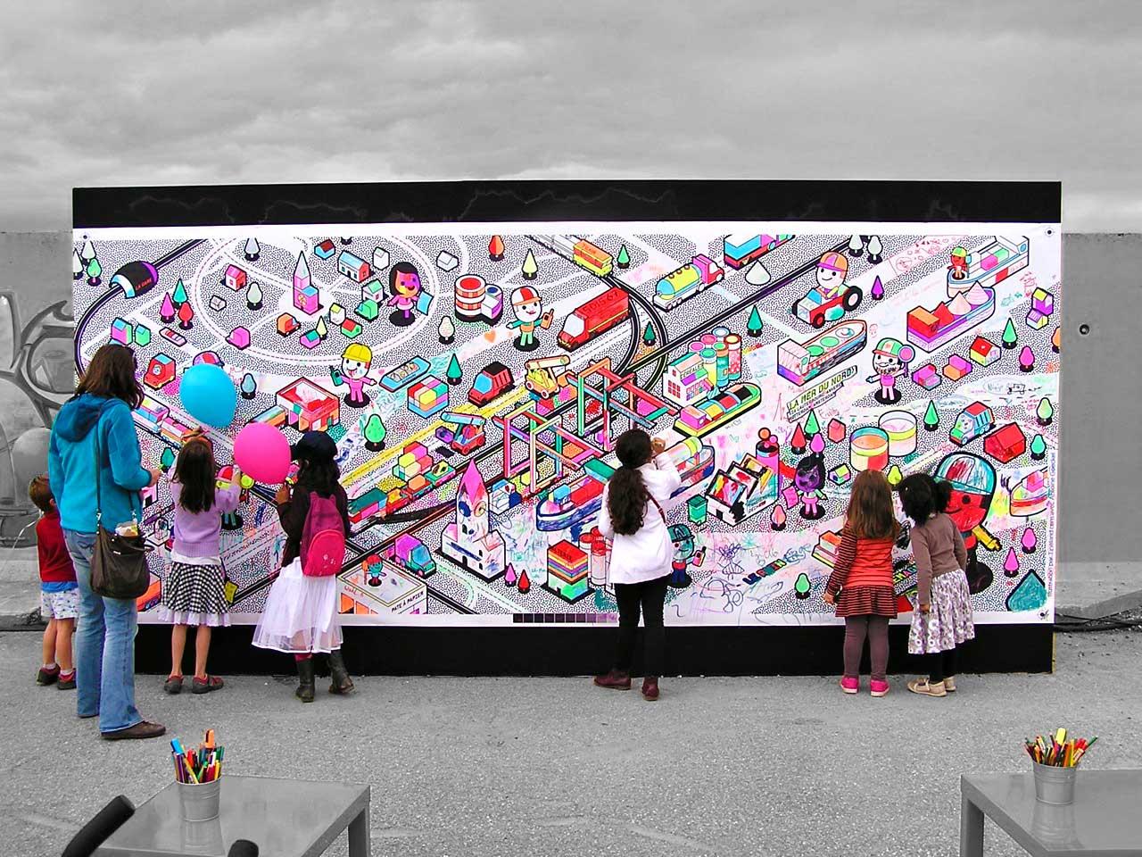 Fresque à colorier pour le Port autonome de Strasbourg