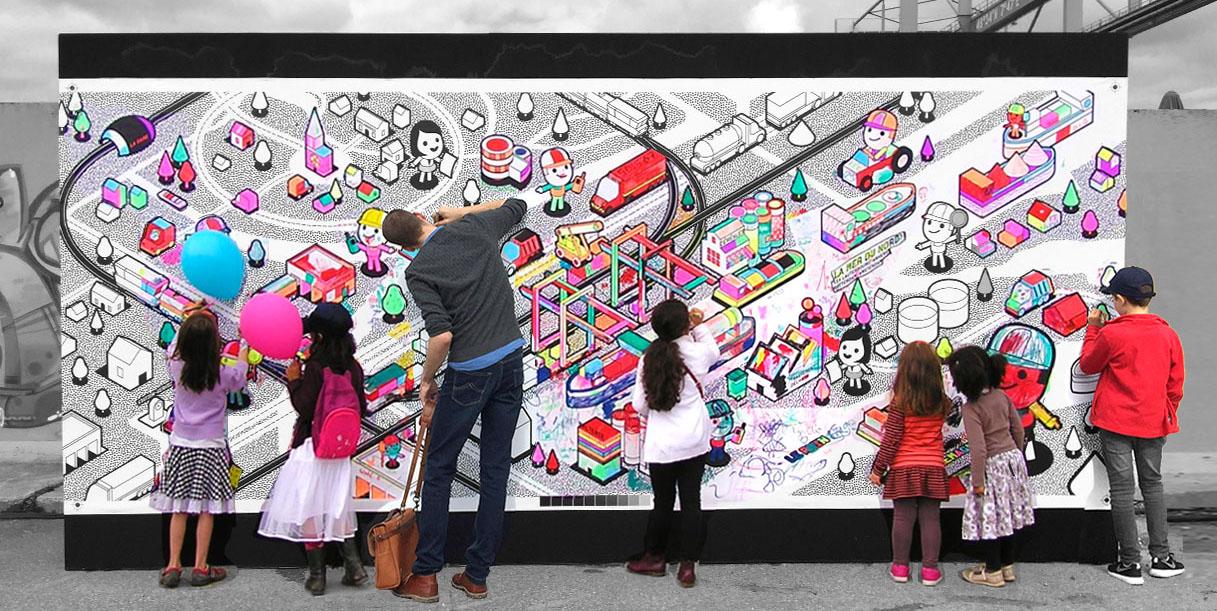 Fresque géante à colorier