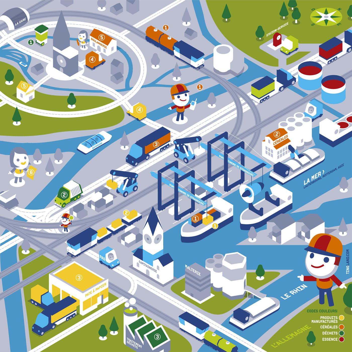 Carte didactique du Port Autonome de Strasbourg